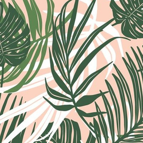 Hideaway - Tropical Palm Leaves Blush Pink Medium Scale