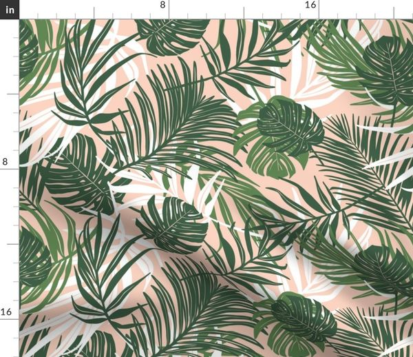 Hideaway Tropical Palm Leaves Blush Pi Spoonflower Find over 100+ of the best free tropical leaves images. fabric by the yard hideaway tropical palm leaves blush pink medium scale