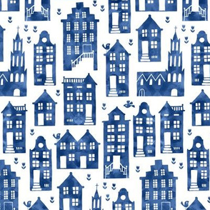 Houses in Royal Delft blue watercolors (small)