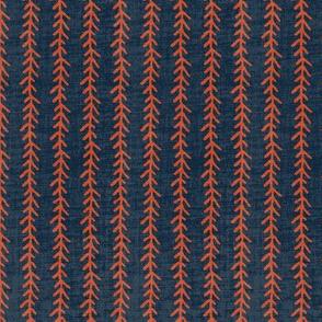 Feather Stripe - Indigo, Linen