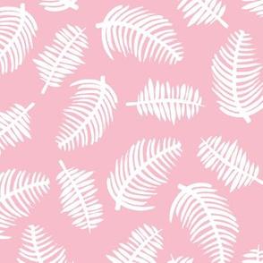 Tropical summer palm leaves hawaiian garden pastel pink