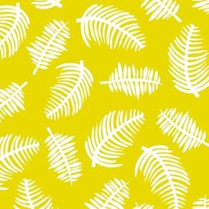 Tropical summer palm leaves hawaiian garden lemon bright yellow