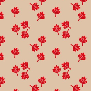 Canadian maple leaf autumn woodland print red gender neutral beige SMALL