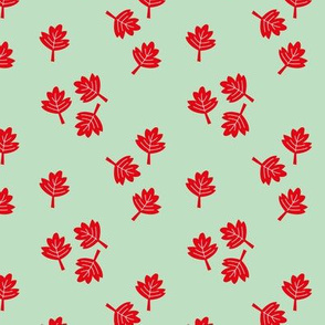 Canadian maple leaf autumn woodland print red mint SMALL