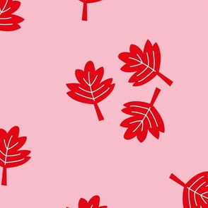 Canadian maple leaf autumn woodland print red pink LARGE