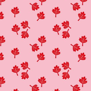 Canadian maple leaf autumn woodland print red pink SMALL