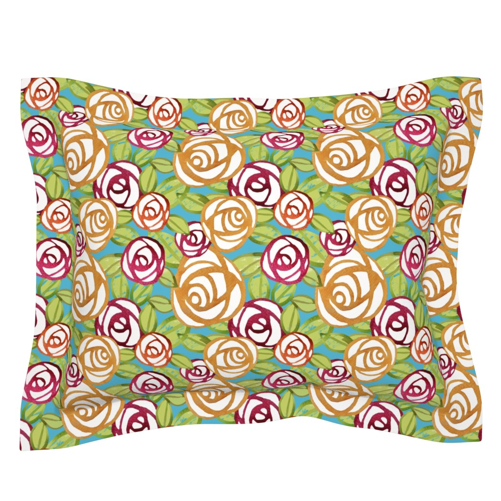 Sebright Pillow Sham featuring Pop Roses in Watercolor by lauriekentdesigns