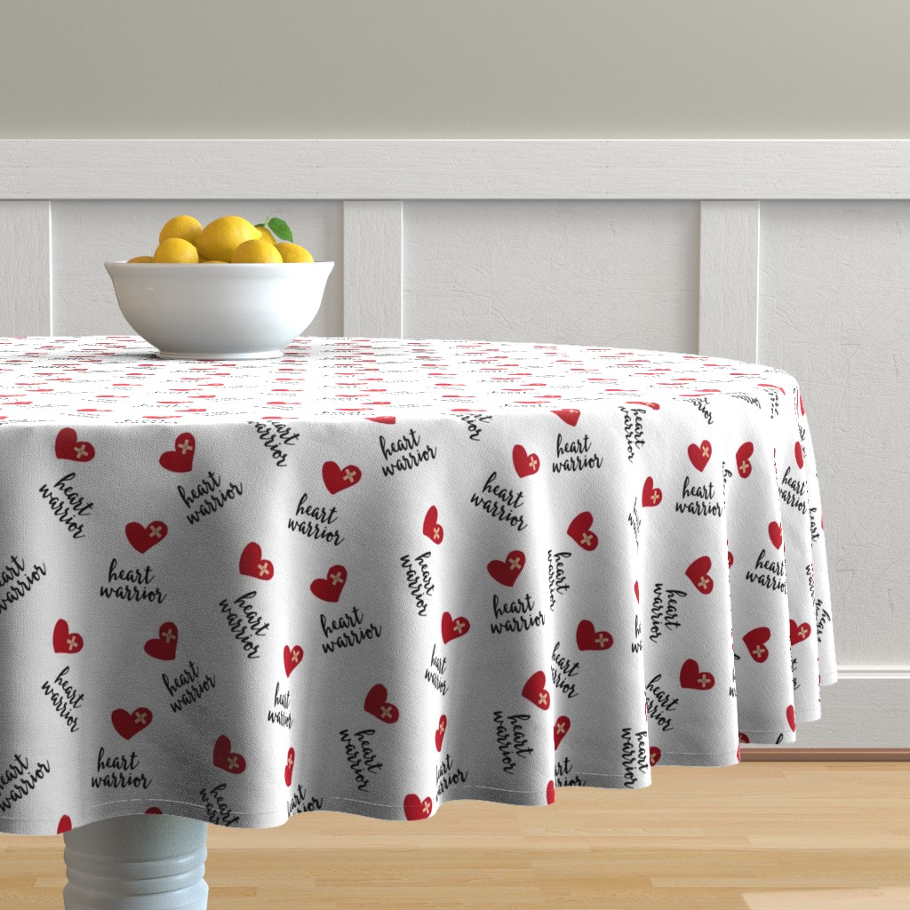 Malay Round Tablecloth featuring heart warrior || CHD fabric by littlearrowdesign