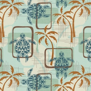 Mid Century Modern Hawaii - turtles, palm trees