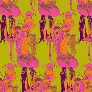 Beardsley: Hot Pink on  Chartreuse