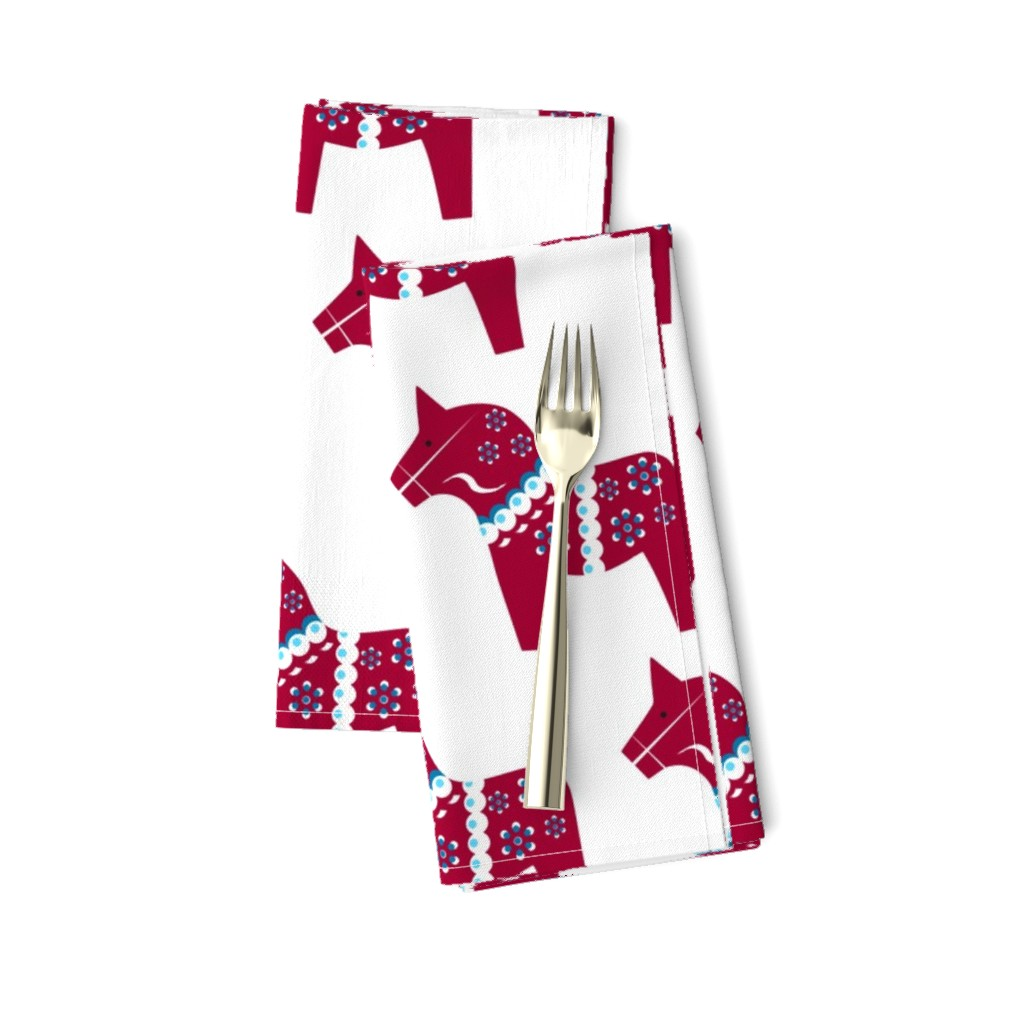 Amarela Dinner Napkins featuring Dala Traditional Red on White by courtandspark