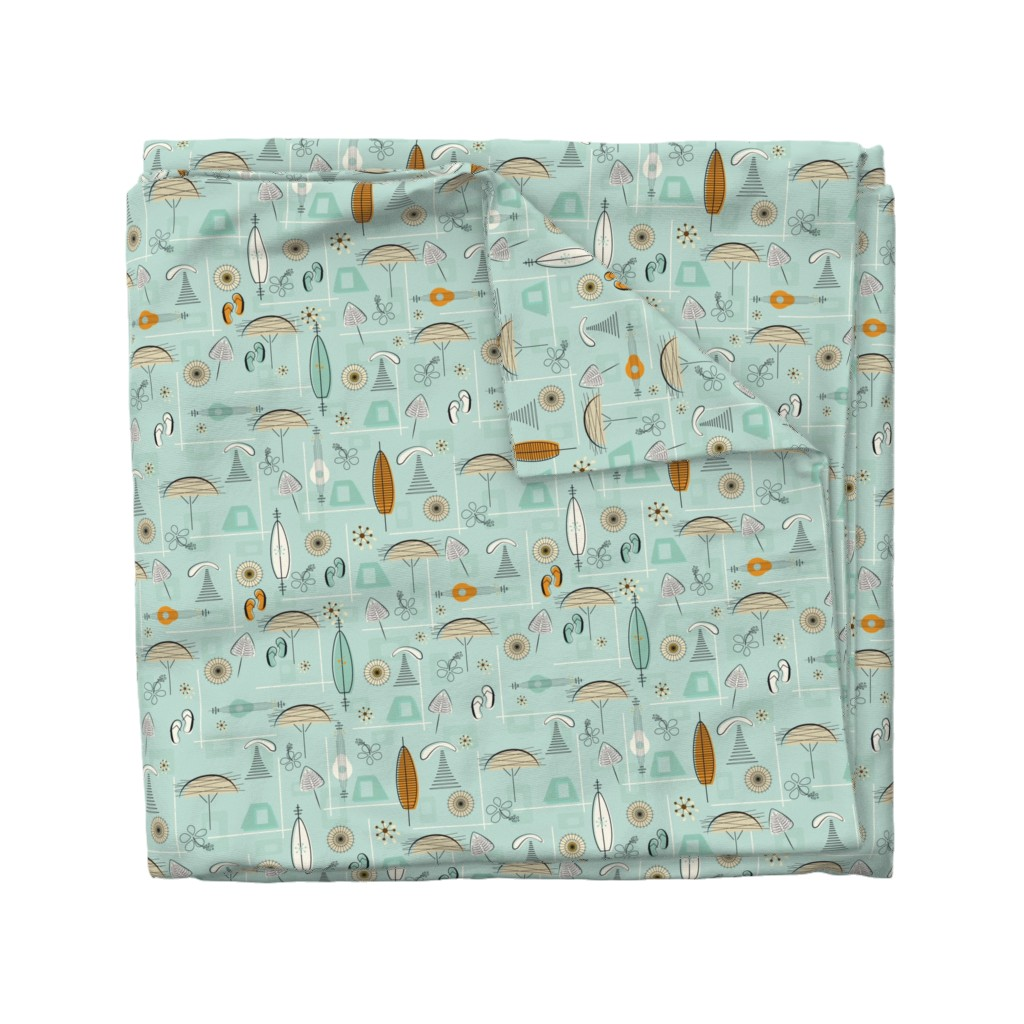 Wyandotte Duvet Cover featuring Mid-Century Hawaiian Village Seamless Repeating Pattern on Blue by paula_ohreen_designs