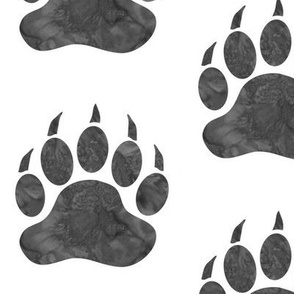 Watercolor Bear Paw - big - grey on white