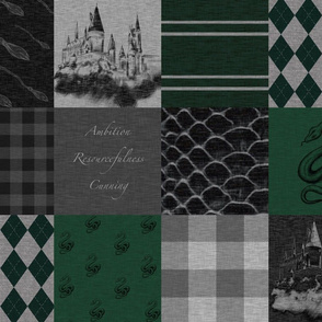 Wizard Quilt- Ambition, Resourcefulness, Cunning - Green and Grey