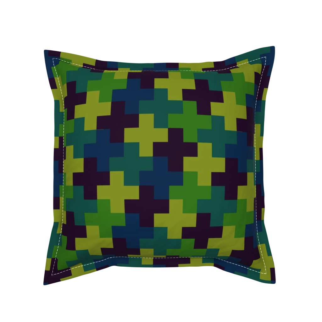 Serama Throw Pillow featuring Deep Jungle Multicoloured Crosses by Cheerful Madness!! by cheerfulmadness_cartoons