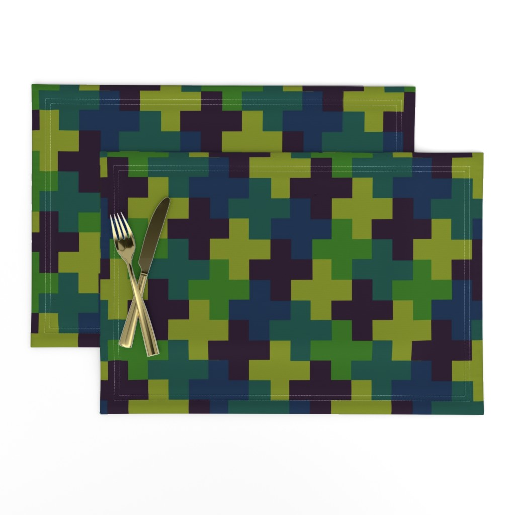 Lamona Cloth Placemats featuring Deep Jungle Multicoloured Crosses by Cheerful Madness!! by cheerfulmadness_cartoons