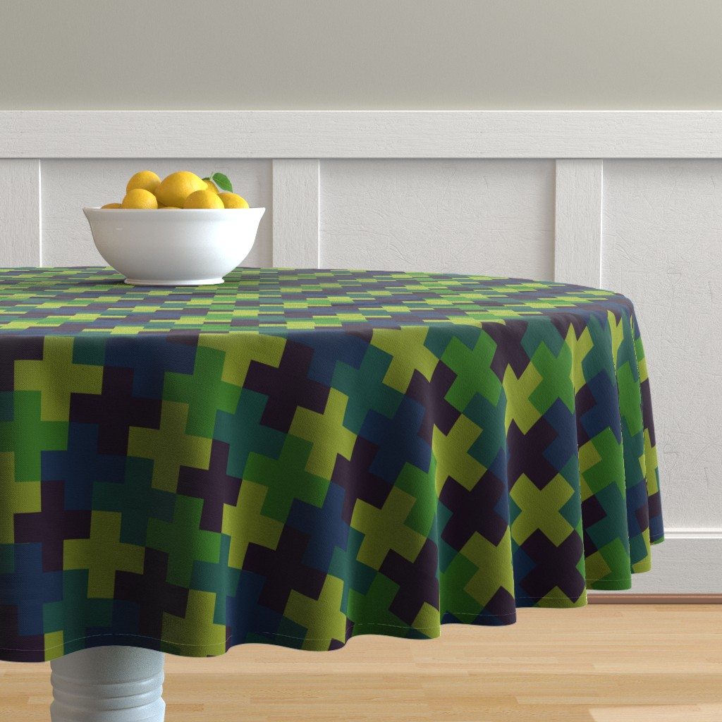 Malay Round Tablecloth featuring Deep Jungle Multicoloured Crosses by Cheerful Madness!! by cheerfulmadness_cartoons