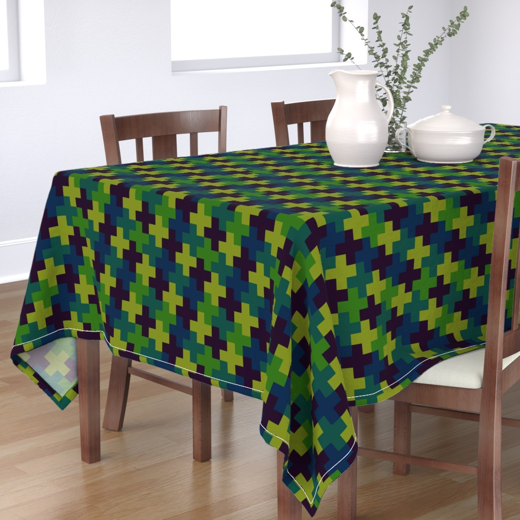 Bantam Rectangular Tablecloth featuring Deep Jungle Multicoloured Crosses by Cheerful Madness!! by cheerfulmadness_cartoons