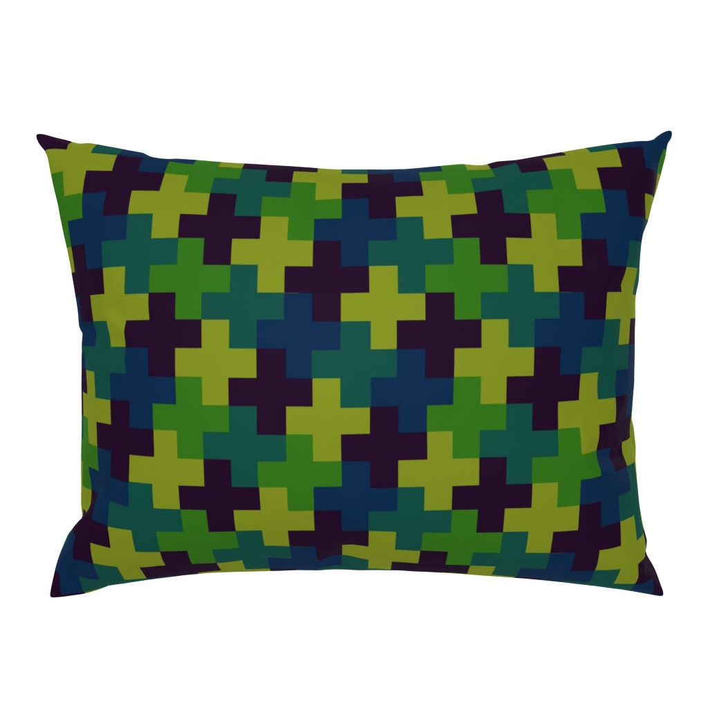 Campine Pillow Sham featuring Deep Jungle Multicoloured Crosses by Cheerful Madness!! by cheerfulmadness_cartoons