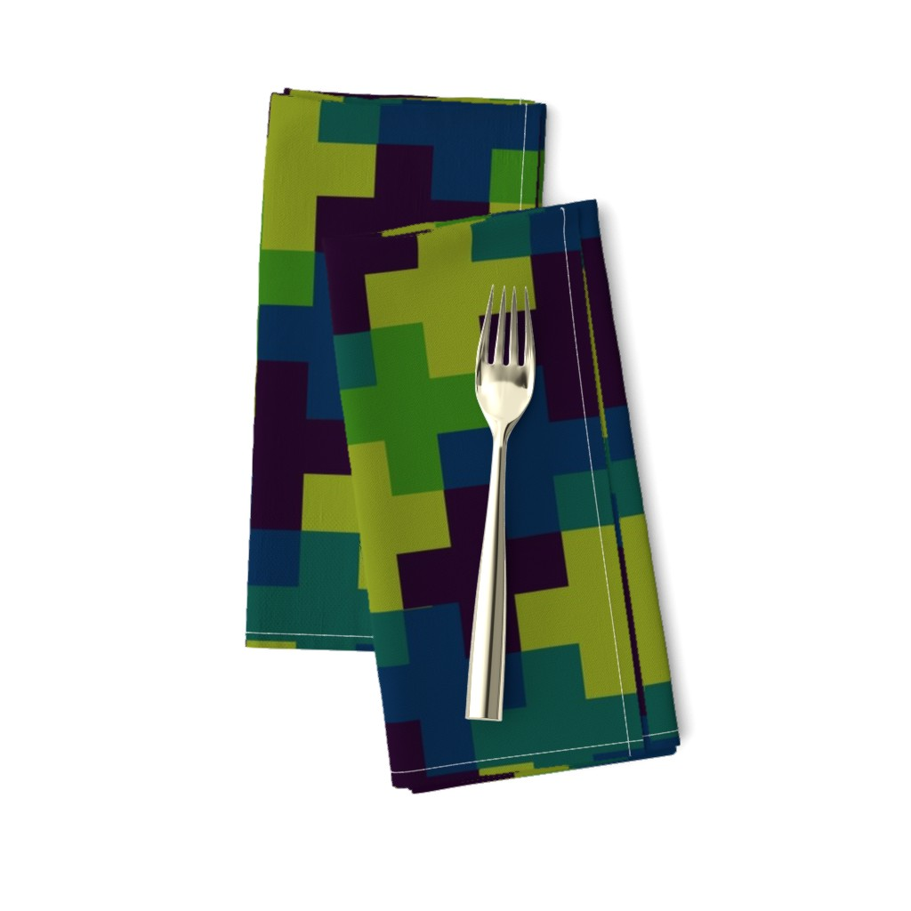 Amarela Dinner Napkins featuring Deep Jungle Multicoloured Crosses by Cheerful Madness!! by cheerfulmadness_cartoons
