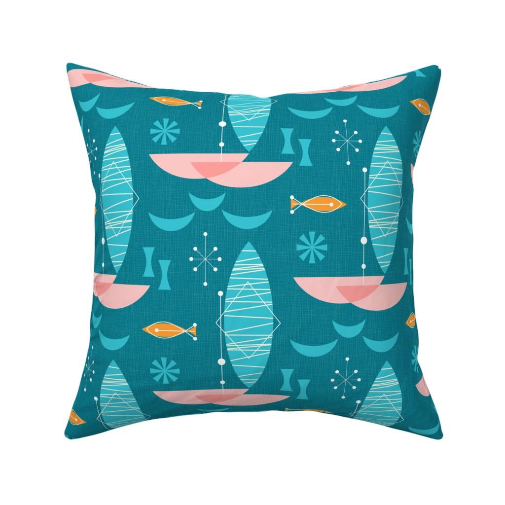 Catalan Throw Pillow featuring Pink Catamaran: Bg Blue by mia_valdez