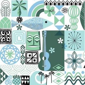 na paila* (Blue and Green) || Hawaii Hawaiian sun beach tropical palm trees atomic midcentury modern leaves flowers ukulele fish honu sea turtle rainbow tiki tribal waves ocean