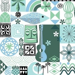 na paila* (Blue and Green) || Hawaii Hawaiian sun beach tropical palm trees atomic midcentury modern leaves flowers ukulele fish honu sea turtle rainbow tiki tribal waves ocean