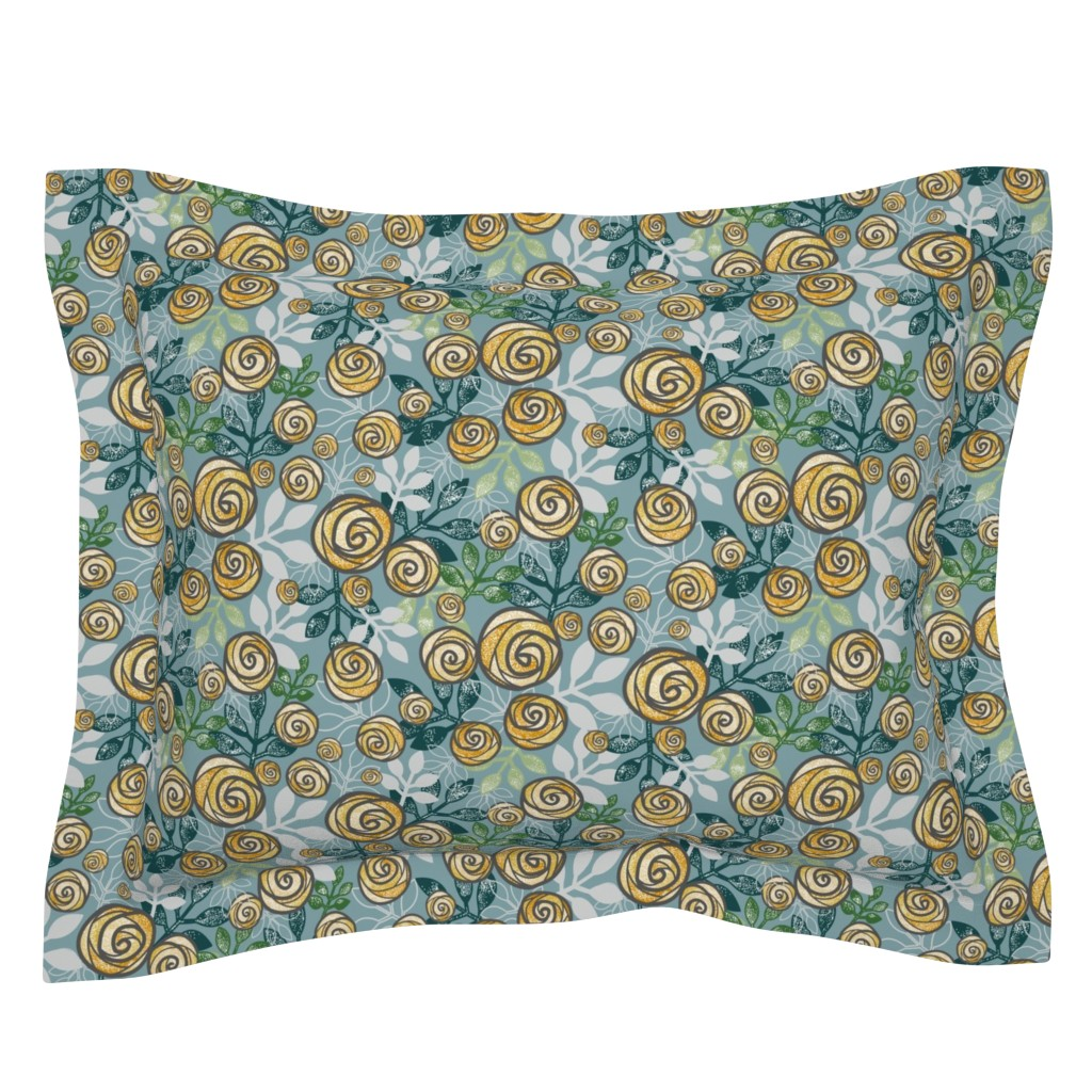 Sebright Pillow Sham featuring Snowy Rose Floral Print in Blue, Green, Yellow by amborela