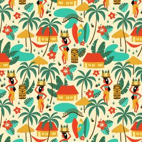 Hawaiian Village colorful retro