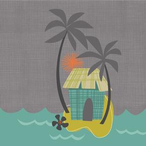 Ukulele Aloha: Tiki Hut Pillow