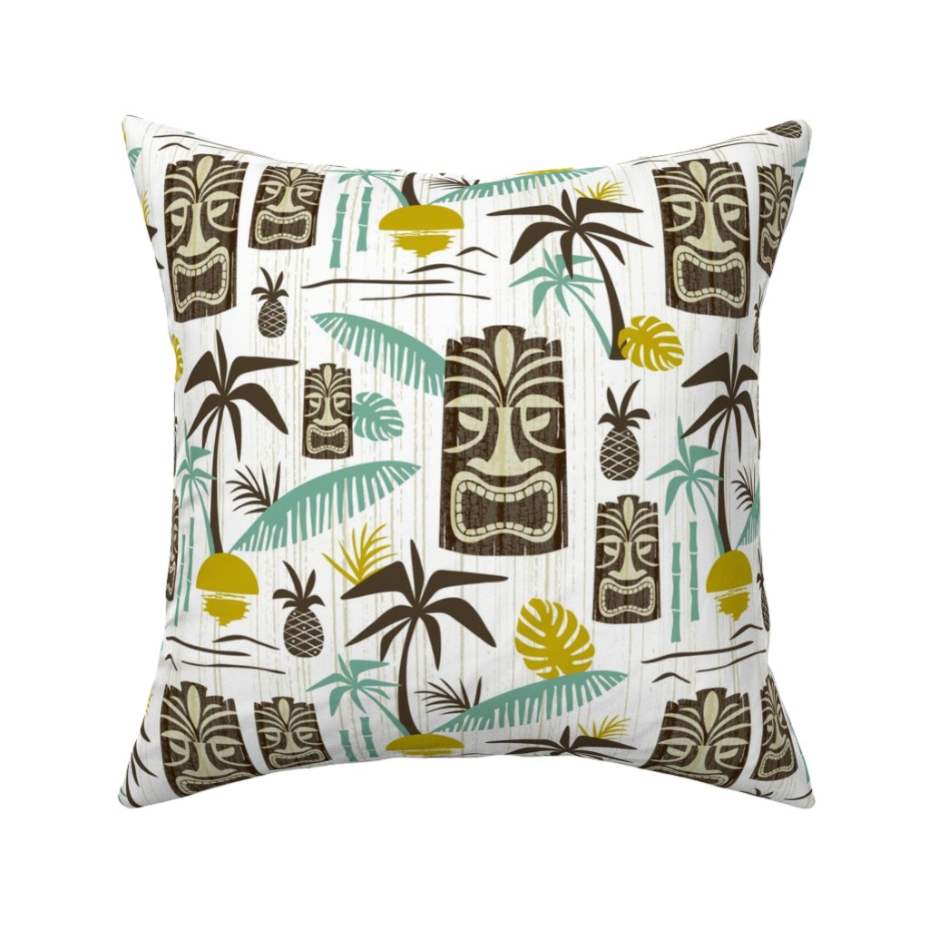 Catalan Throw Pillow featuring Island Tiki - White by heatherdutton