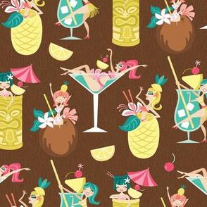 Tiki Drink Girls in Coconut Brown