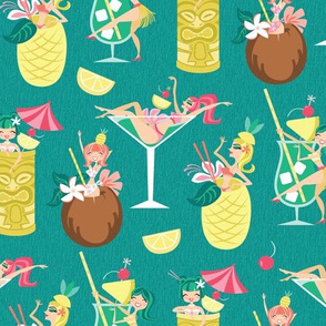 Tiki Drink Girls in Blue Hawaii