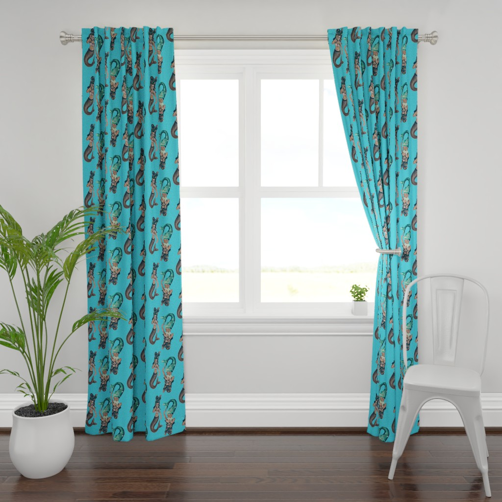 Plymouth Curtain Panel featuring Clovelly Mermaid by candyland_studios