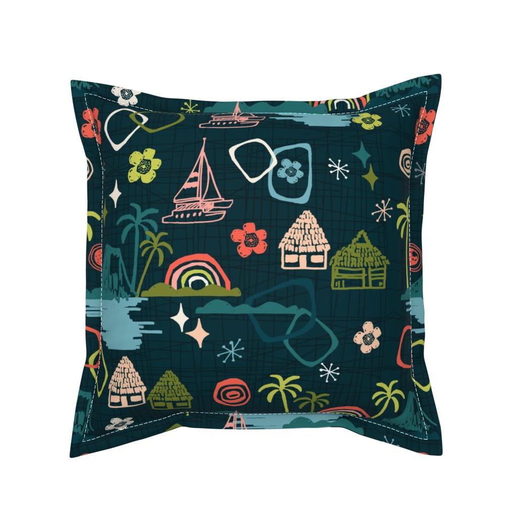 Serama Throw Pillow featuring mid century hawaiian resort  by andrea_lauren