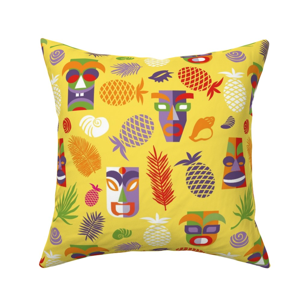 Catalan Throw Pillow featuring tiki masks yellow XL by colorofmagic