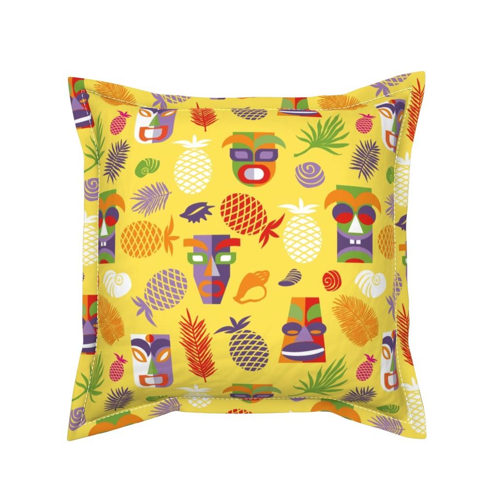 Serama Throw Pillow featuring tiki masks yellow XL by colorofmagic
