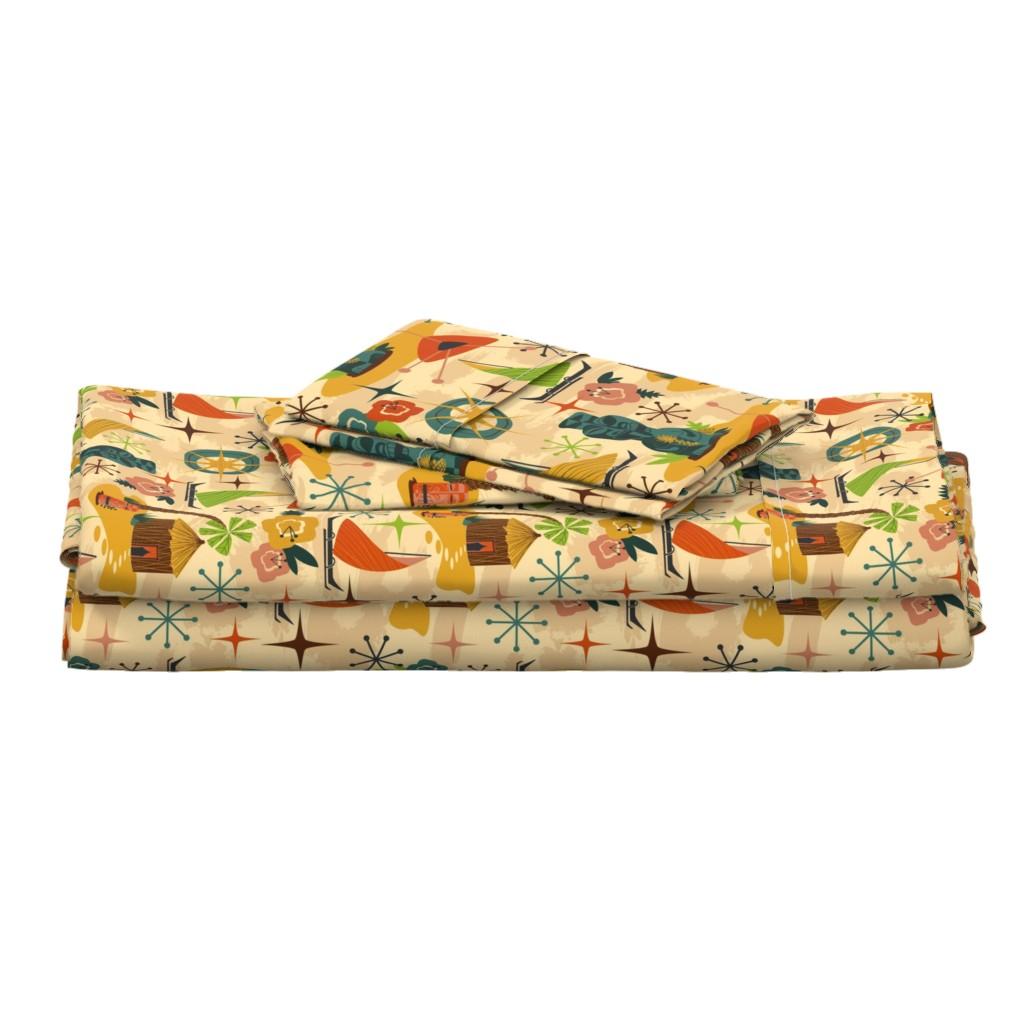 Langshan Full Bed Set featuring Mid Mod Tiki // midcentury modern tiki statue hut island atomic retro fabric by liz_sawyer_design
