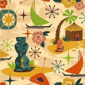 Mid Mod Tiki // midcentury modern tiki statue hut island atomic retro fabric