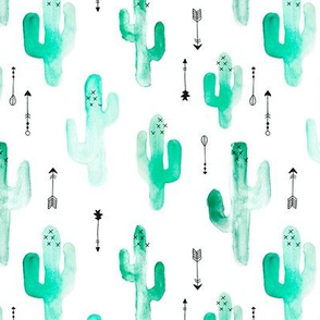 Watercolor western desert cactus illustration indian summer theme with arrows in tropical green for girls and boys