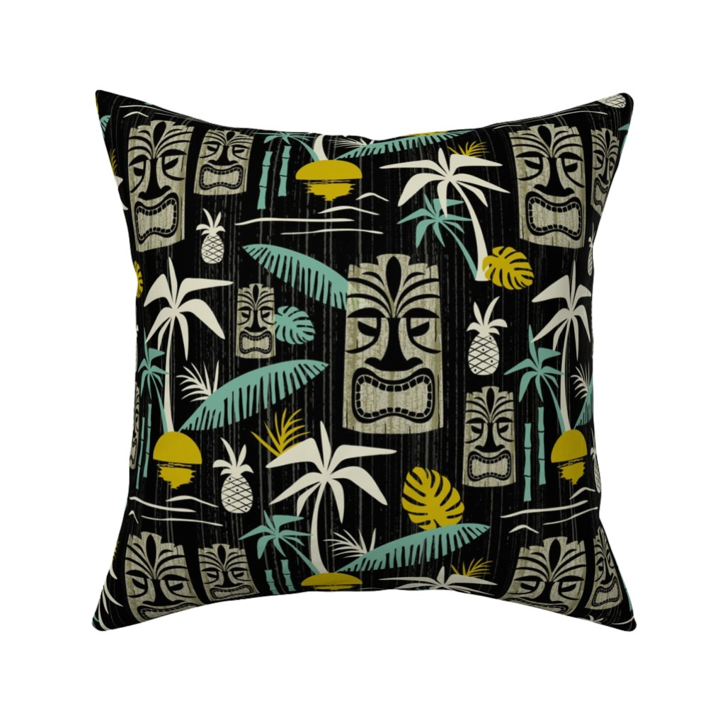 Catalan Throw Pillow featuring Island Tiki - Black by heatherdutton