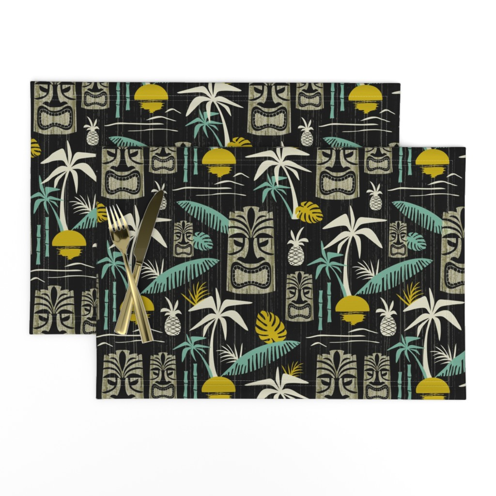 Lamona Cloth Placemats featuring Island Tiki - Black by heatherdutton