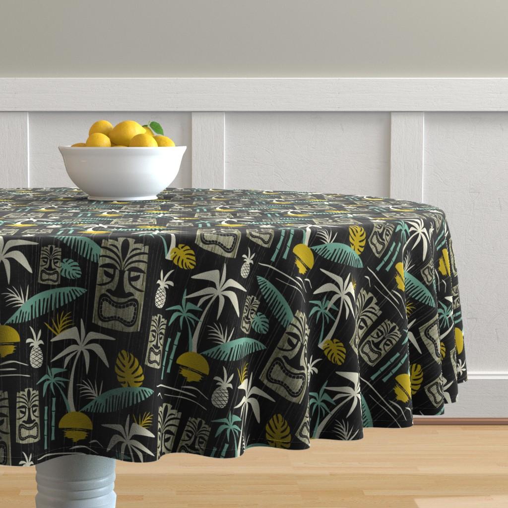 Malay Round Tablecloth featuring Island Tiki - Black by heatherdutton