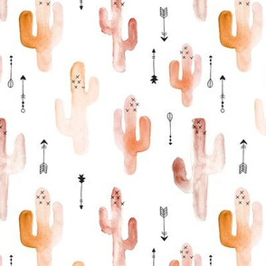 Watercolor western desert cactus illustration indian summer theme with arrows in tropical kaki orange for girls and boys