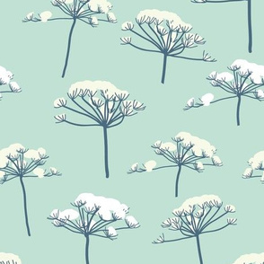 Queen Ann's lace in the snow blue