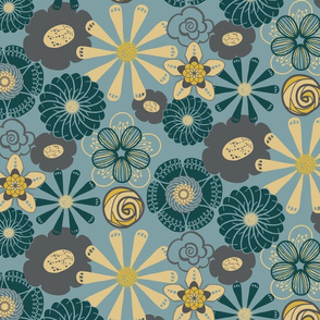 Large Flower Print in Teal Blue, Gray, Yellow