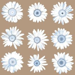 pale blue daisy dots on mocha