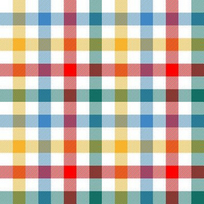 "circus gingham - 1/2"" red, teal, blue, yellow"