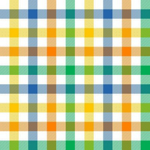 "circus gingham - 1/2"" blue, green, yellow, orange"