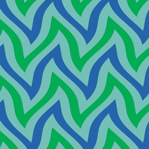 zigzag wave - aqua, blue, green